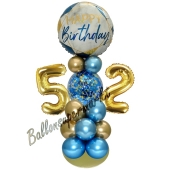 LED Ballondeko zum 52. Geburtstag in Blau und Gold