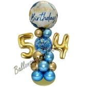 LED Ballondeko zum 54. Geburtstag in Blau und Gold