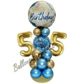 LED Ballondeko zum 55. Geburtstag in Blau und Gold
