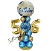 LED Ballondeko zum 56. Geburtstag in Blau und Gold