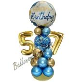 LED Ballondeko zum 57. Geburtstag in Blau und Gold