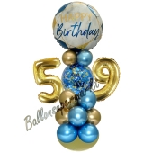 LED Ballondeko zum 59. Geburtstag in Blau und Gold