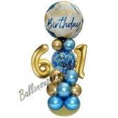 LED Ballondeko zum 61. Geburtstag in Blau und Gold