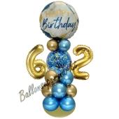 LED Ballondeko zum 62. Geburtstag in Blau und Gold