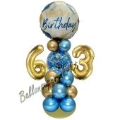LED Ballondeko zum 63. Geburtstag in Blau und Gold