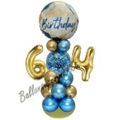 LED Ballondeko zum 64. Geburtstag in Blau und Gold