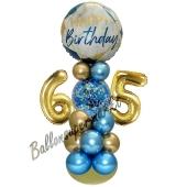 LED Ballondeko zum 65. Geburtstag in Blau und Gold