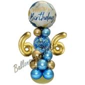 LED Ballondeko zum 66. Geburtstag in Blau und Gold
