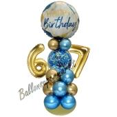 LED Ballondeko zum 67. Geburtstag in Blau und Gold