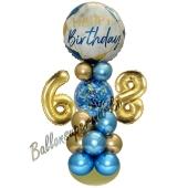 LED Ballondeko zum 68. Geburtstag in Blau und Gold