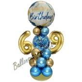 LED Ballondeko zum 69. Geburtstag in Blau und Gold