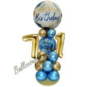 LED Ballondeko zum 71. Geburtstag in Blau und Gold