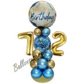 LED Ballondeko zum 72. Geburtstag in Blau und Gold