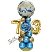 LED Ballondeko zum 73. Geburtstag in Blau und Gold