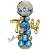 LED Ballondeko zum 74. Geburtstag in Blau und Gold