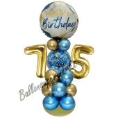 LED Ballondeko zum 75. Geburtstag in Blau und Gold
