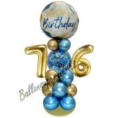 LED Ballondeko zum 76. Geburtstag in Blau und Gold