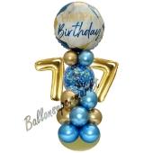 LED Ballondeko zum 77. Geburtstag in Blau und Gold