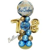 LED Ballondeko zum 78. Geburtstag in Blau und Gold