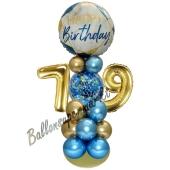 LED Ballondeko zum 79. Geburtstag in Blau und Gold