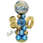 LED Ballondeko zum 80. Geburtstag in Blau und Gold