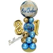LED Ballondeko zum 81. Geburtstag in Blau und Gold