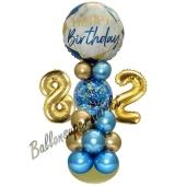LED Ballondeko zum 82. Geburtstag in Blau und Gold