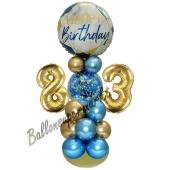 LED Ballondeko zum 83. Geburtstag in Blau und Gold