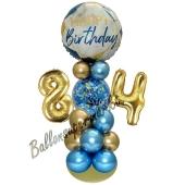 LED Ballondeko zum 84. Geburtstag in Blau und Gold