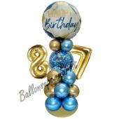 LED Ballondeko zum 87. Geburtstag in Blau und Gold