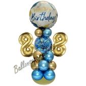 LED Ballondeko zum 88. Geburtstag in Blau und Gold