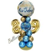 LED Ballondeko zum 89. Geburtstag in Blau und Gold