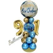 LED Ballondeko zum 91. Geburtstag in Blau und Gold