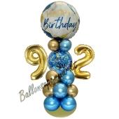 LED Ballondeko zum 92. Geburtstag in Blau und Gold