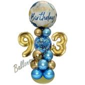 LED Ballondeko zum 93. Geburtstag in Blau und Gold
