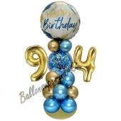 LED Ballondeko zum 94. Geburtstag in Blau und Gold