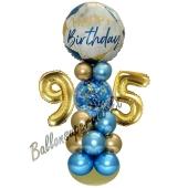 LED Ballondeko zum 95. Geburtstag in Blau und Gold