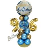 LED Ballondeko zum 96. Geburtstag in Blau und Gold
