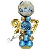 LED Ballondeko zum 97. Geburtstag in Blau und Gold