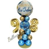 LED Ballondeko zum 98. Geburtstag in Blau und Gold