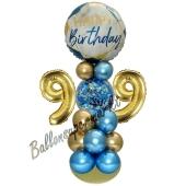 LED Ballondeko zum 99. Geburtstag in Blau und Gold