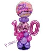 LED Ballondeko zum 10. Geburtstag in Pink und Lila