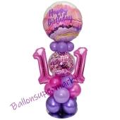 LED Ballondeko zum 11. Geburtstag in Pink und Lila