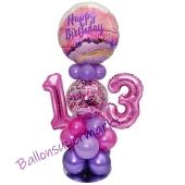 LED Ballondeko zum 13. Geburtstag in Pink und Lila