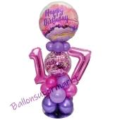 LED Ballondeko zum 17. Geburtstag in Pink und Lila