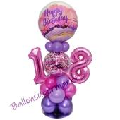 LED Ballondeko zum 18. Geburtstag in Pink und Lila