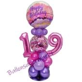 LED Ballondeko zum 19. Geburtstag in Pink und Lila