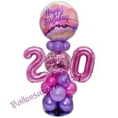 LED Ballondeko zum 20. Geburtstag in Pink und Lila