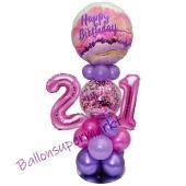 LED Ballondeko zum 21. Geburtstag in Pink und Lila
