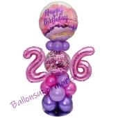 LED Ballondeko zum 26. Geburtstag in Pink und Lila